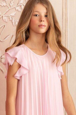 Abito in chiffon rosa plissettato Aletta