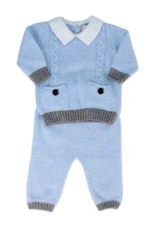 Completo 2pz in filato misto cashmere per neonato