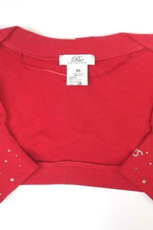 Scaldaspalle in jersey bambina Petit in cotone felpato rosso, elasticizzato