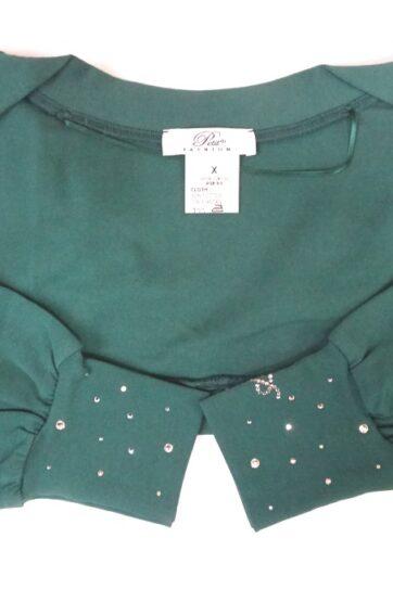 Scaldaspalle in jersey bambina Petit in cotone felpato verde, elasticizzato