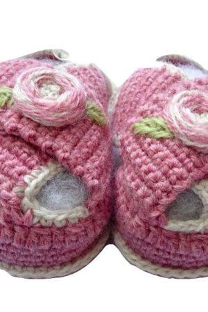 Scarpine il lana merinos ricamate a mano