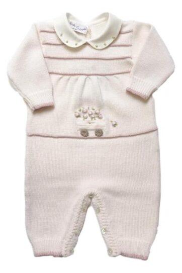 Tutina neonata in lana merinos con ricami