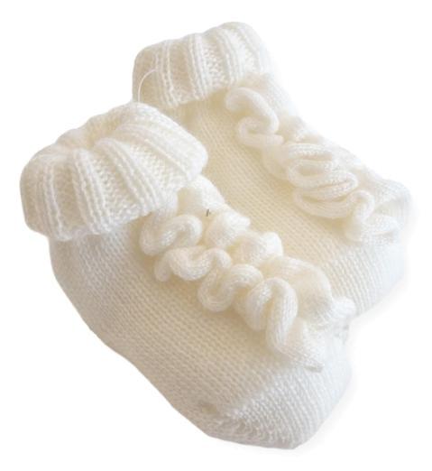 Scarpine in lana merinos con ricami per neonata