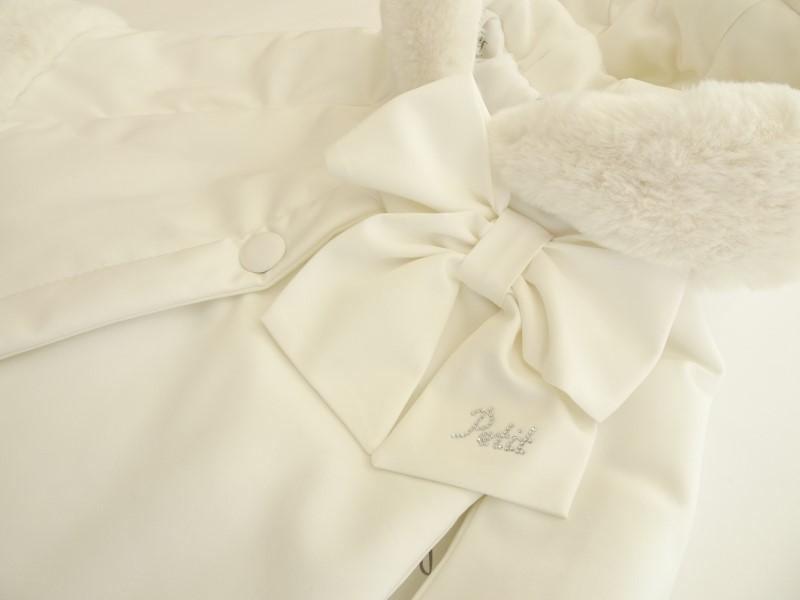 Mantella con cappuccio ed eco-pelliccia Petit