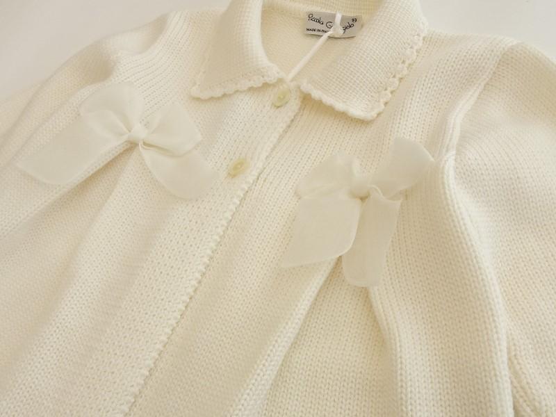 Cappottino in lana merinos panna per bambina con fiocchi