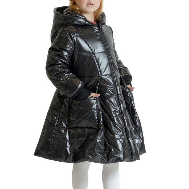 Piumino nero lucido per bambina