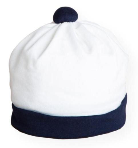 Cappello nascita panna con dettagli blu Aletta