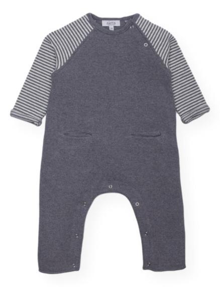 Tutina neonato in maglina grigio e panna di Aletta
