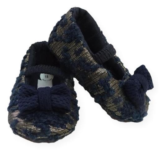 Scarpina per neonata blu in lana bouclè