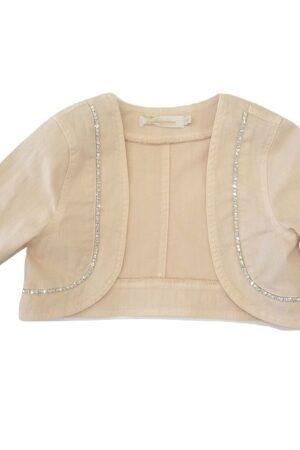 Giacca aperta in cotone rosa con maniche lunghe, decorata con dettagli strass sulla parte anteriore.