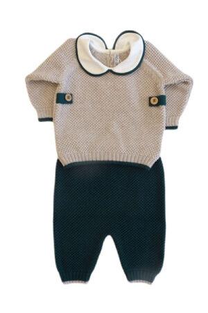 Completo 2 pezzi in lana merinos per neonato Bèbè di Almy