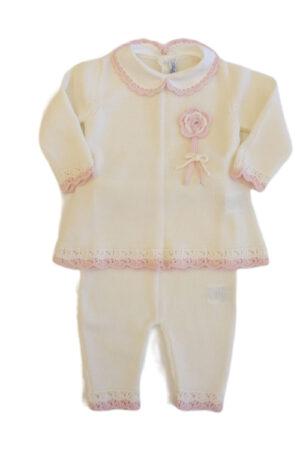 Completo 2 pezzi in lana per neonata Bebè di Almy