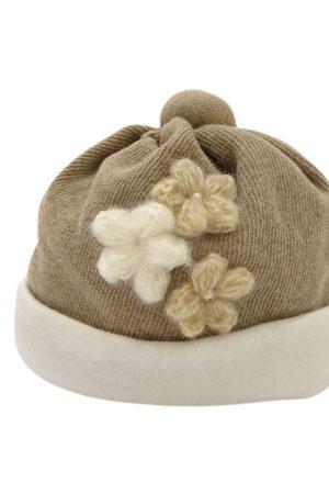 Cappellino neonata con fiori di Aletta