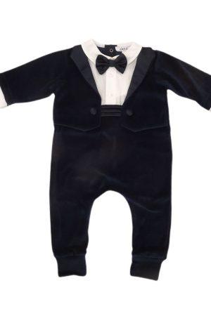 Tutina smoking blu per neonato Aletta