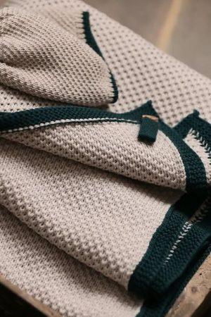 Set corredino nascita in lana merinos tortora Bebè di Almy