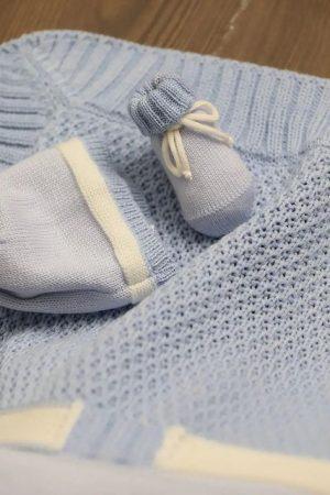 Set corredino nascita in lana merinos celeste Bebè di Almy